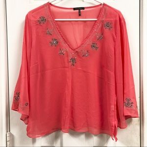 Sheer Bead Embroidered Blouse